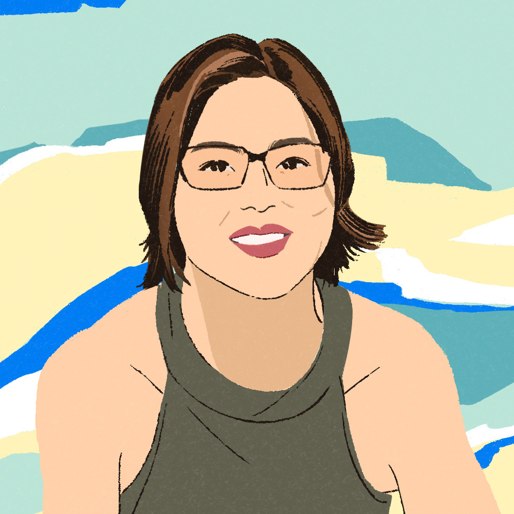 Beautiful illustration of talented and smart reporter.